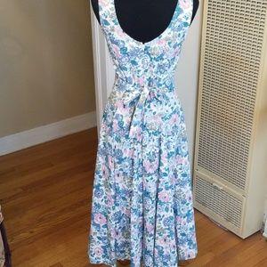VTG 80s Floral Handmade Swing Maxi Dress!